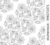 monochrome seamless pattern... | Shutterstock .eps vector #598272371