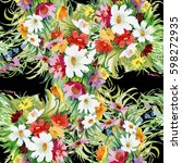 summertime garden flowers... | Shutterstock . vector #598272935