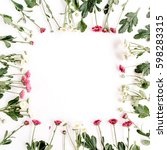 wreath frame of red and white... | Shutterstock . vector #598283315