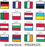 hand drawn vector flag set....   Shutterstock .eps vector #598284224