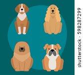 funny cartoon dog character... | Shutterstock .eps vector #598287299