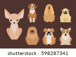 funny cartoon dog character... | Shutterstock .eps vector #598287341