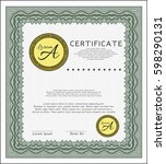 green certificate of... | Shutterstock .eps vector #598290131