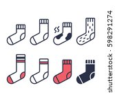 socks line icons set. different ... | Shutterstock .eps vector #598291274