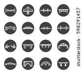 bridge line icon set vector | Shutterstock .eps vector #598291457