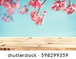 top of wood table empty ready... | Shutterstock . vector #598299359