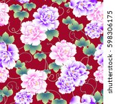 japanese style peony pattern | Shutterstock .eps vector #598306175