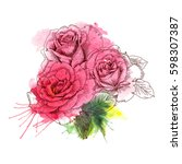 a bouquet of roses flowers.... | Shutterstock .eps vector #598307387