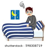 men  suffers insomnia  navy... | Shutterstock .eps vector #598308719