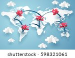 paper art of a planes fly along ... | Shutterstock .eps vector #598321061