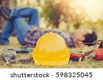 safety helmet and equipment... | Shutterstock . vector #598325045