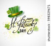 saint patricks day card with... | Shutterstock .eps vector #598329671