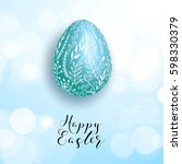 happy easter blue egg on... | Shutterstock .eps vector #598330379