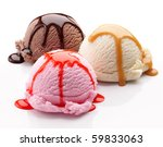 three scoops of ice cream with... | Shutterstock . vector #59833063