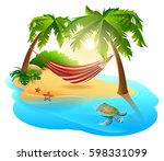 tropical island and hammock... | Shutterstock .eps vector #598331099