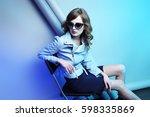 fashion model in sunglasses ... | Shutterstock . vector #598335869