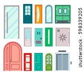 doors isolated vector... | Shutterstock .eps vector #598339205