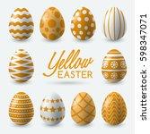 yellow easter eggs on white... | Shutterstock .eps vector #598347071