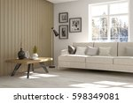 white empty room with winter... | Shutterstock . vector #598349081