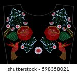 embroidery rose with... | Shutterstock .eps vector #598358021