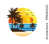 summer vacation on tropical... | Shutterstock .eps vector #598364261