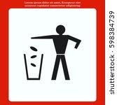 throw away the trash icon ... | Shutterstock .eps vector #598384739