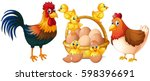 chicken  hen  rooster and baby... | Shutterstock .eps vector #598396691