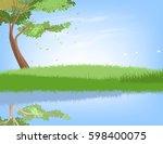 tree and lake scene vector... | Shutterstock .eps vector #598400075