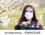 woman with respirator mask... | Shutterstock . vector #598403189