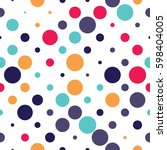 seamless polka dot pattern with ... | Shutterstock .eps vector #598404005