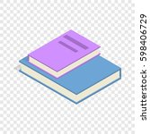 stack of two books isometric... | Shutterstock . vector #598406729
