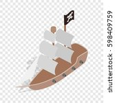 pirate ship isometric icon 3d...   Shutterstock . vector #598409759