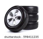 car wheels on white background | Shutterstock . vector #598411235