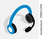 headphones with microphone... | Shutterstock . vector #598411544