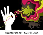 Designed abstract banner with hand silhouette. Vector illustration. - stock vector