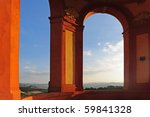 arcade of san luca sanctuary at ... | Shutterstock . vector #59841328