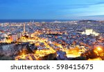 barcelona city at night  spain. | Shutterstock . vector #598415675