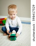 portrait of two years old boy... | Shutterstock . vector #598417529