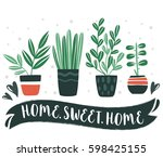 home.sweet.home. set of cute... | Shutterstock .eps vector #598425155