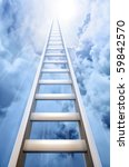 Ladder Reaching Into A Blue Sky ...