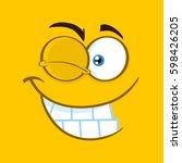 winking cartoon square... | Shutterstock .eps vector #598426205