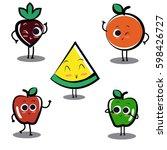fruits cartoon character  ... | Shutterstock .eps vector #598426727