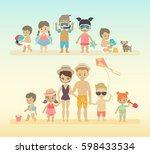 kids on the beach. vector... | Shutterstock .eps vector #598433534