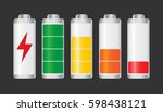set of battery charge level... | Shutterstock .eps vector #598438121
