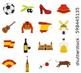 spain travel set icons in flat... | Shutterstock . vector #598445135