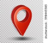 3d map pointer vector. red... | Shutterstock .eps vector #598445585