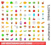 100 vegetarian cafe icons set... | Shutterstock . vector #598446071