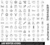 100 winter icons set in outline ... | Shutterstock . vector #598446089