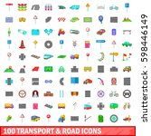 100 transport and road icons... | Shutterstock . vector #598446149