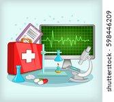 medicine concept. cartoon... | Shutterstock . vector #598446209